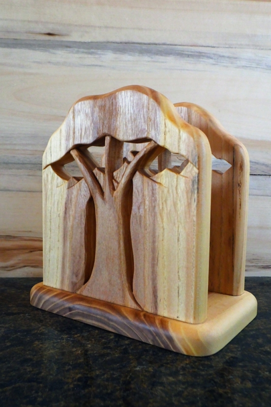 Beautiful hand carved napkin holder by Noah Hughes