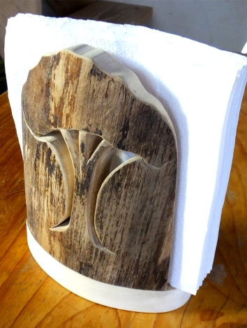 Handcarved Aspen Napkin Holder by Noah hughes