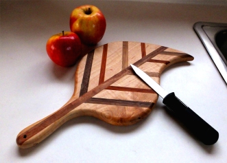 Reclaimed Maple, Black Walnut, Mahogany Harvest Leaf by Noah Hughes