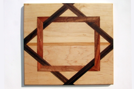 White Maple, Black Walnut and Mahogany Interlocking by Noah Hughes