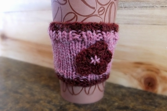 Wool and Acrylic Blend coffee cozy, by Anna Hughes