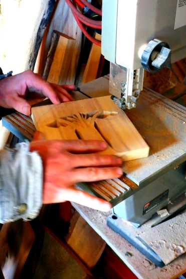 Cutting out an original design for a Siberian Elm napkin holder