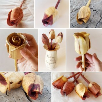 Handcarved Wooden Roses