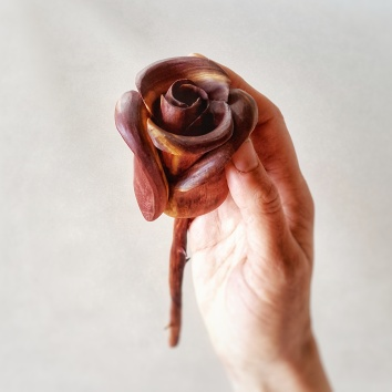 Handcarved Wood Rose-Cedar